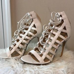 White Lace up heels💋